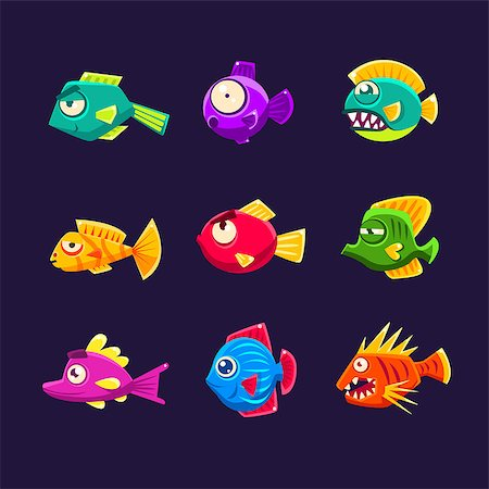 piranha fish - Colorful Tropical Fish Set Of Bright Color Vector Icons Isolated On Dark Background. Cute Childish Fantastic Animal Characters Design. Stock Photo - Budget Royalty-Free & Subscription, Code: 400-08711002