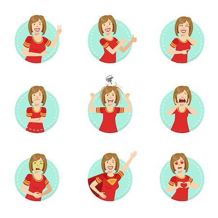 Emotion Body Language Illustration Set With Woman Demonstrating. Set Of Emotional Facial Expressions With Person In Red T-shirt In Blue Round Frame. Stock Photo - Budget Royalty-Free & Subscription, Code: 400-08711074