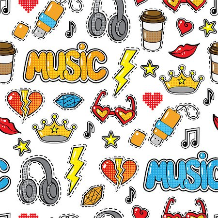 Seamless pattern with fashion patch badges, stickers in comic style. crown, headphones, coffee, heart, word Music, lips, cloud, others isolated on white background. Art vector illustration Stock Photo - Budget Royalty-Free & Subscription, Code: 400-08711091