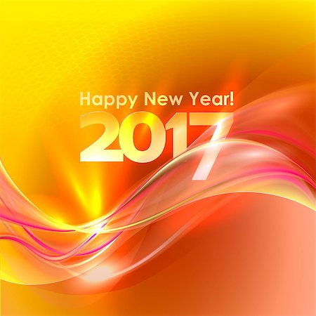 2017 Happy New Year abstract yellow background with red wave. Vector illustration Stock Photo - Budget Royalty-Free & Subscription, Code: 400-08711749