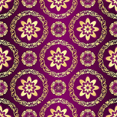 seamless floral - Floral purple seamless pattern with vintage flowers and gold lacy rings, vector Stock Photo - Budget Royalty-Free & Subscription, Code: 400-08712001