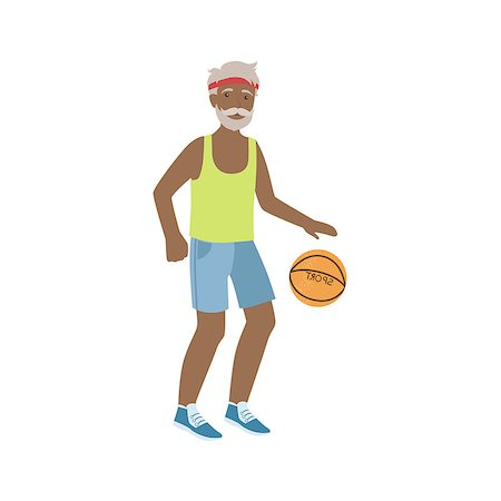 Old Man Playing Basketball Bright Color Cartoon Simple Style Flat Vector Sticker Isolated On White Background Stock Photo - Budget Royalty-Free & Subscription, Code: 400-08712101