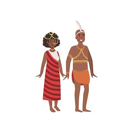 Couple In African National Clothes Simple Design Illustration In Cute Fun Cartoon Style Isolated On White Background Stock Photo - Budget Royalty-Free & Subscription, Code: 400-08712132