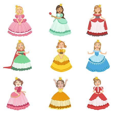 Little Girls Dressed As Fairy Tale Princesses Set Of Cute Flat Characters In Bright Colored Clothes Isolated On White Background Stock Photo - Budget Royalty-Free & Subscription, Code: 400-08712946