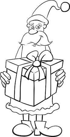 Black and White Cartoon Illustration of Santa Claus with Big Christmas Present Coloring Book Stock Photo - Budget Royalty-Free & Subscription, Code: 400-08713135