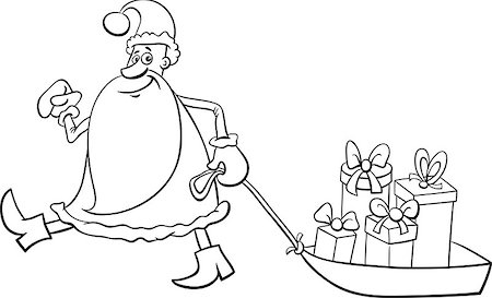 Black and White Cartoon Illustration of Santa Claus Christmas Presents on the Sledge Coloring Book Stock Photo - Budget Royalty-Free & Subscription, Code: 400-08713137
