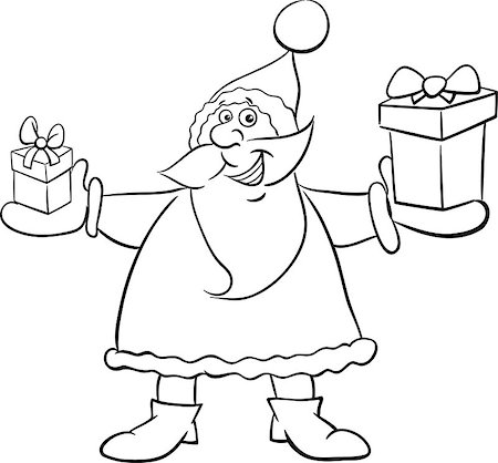 Black and White Cartoon Illustration of Santa Claus with Present on Christmas Time Coloring Book Stock Photo - Budget Royalty-Free & Subscription, Code: 400-08713133