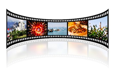 film strip - Film strip with reflection on white. Vector illustration Stock Photo - Budget Royalty-Free & Subscription, Code: 400-08736597