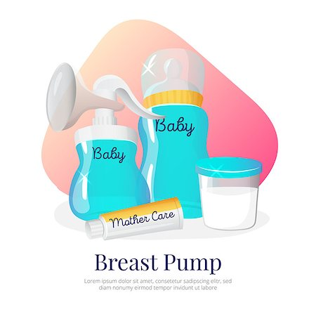 pregnant nipples - Vector goods for expression of breast milk. Newborn accessories illustration in cartoon style. Breast pump, milk bottle, container, woman breast cream. Stock Photo - Budget Royalty-Free & Subscription, Code: 400-08732910
