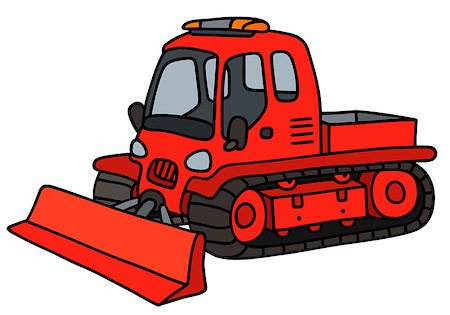 snow plow truck - Hand drawing of a funny red tracked snowplow Stock Photo - Budget Royalty-Free & Subscription, Code: 400-08754337