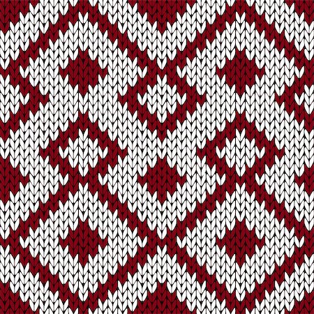 Abstract knitting ornamental seamless vector pattern as a knitted fabric texture in muted dark red and white colors Stock Photo - Budget Royalty-Free & Subscription, Code: 400-08755292