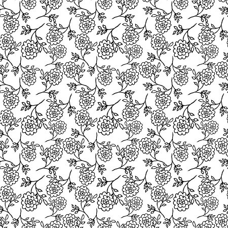 peony backgrounds - white seamless pattern with black abstract peony flowers. vector Stock Photo - Budget Royalty-Free & Subscription, Code: 400-08755897