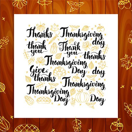 Thanksgiving Day Greeting Lettering. Vector Illustration of Thank You Calligraphy Design over Wooden Board. Stock Photo - Budget Royalty-Free & Subscription, Code: 400-08758862