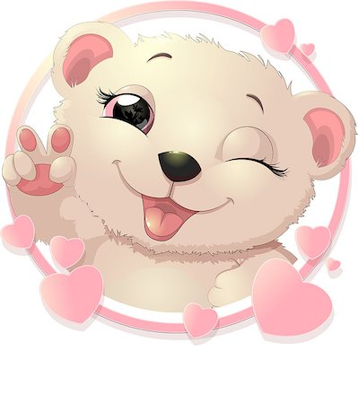 simsearch:400-04598294,k - Bear surrounded by pink hearts showing paw Stock Photo - Budget Royalty-Free & Subscription, Code: 400-08750142