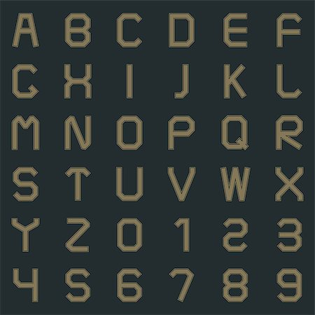 Letters of the Latin alphabet and numbers one, two, three, four, five, six, seven, eight, nine  in retro style vector illustration. Stock Photo - Budget Royalty-Free & Subscription, Code: 400-08750325