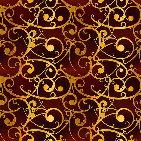 seamless floral - Golden baroque swirls on red, royal luxury seamless pattern Stock Photo - Budget Royalty-Free & Subscription, Code: 400-08752727