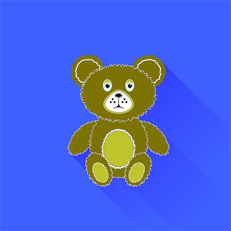 simsearch:400-04598294,k - Cute Bear Icon Isolated on Blue Background. Long Shadow Stock Photo - Budget Royalty-Free & Subscription, Code: 400-08752853