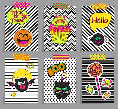 Set of stylish halloween cards, sticers, posters, icons, pins, patches in comic cartoon style on geometric background. Vector illustration. Stock Photo - Budget Royalty-Free & Subscription, Code: 400-08760074
