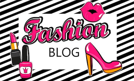 Template for fashion blog with stylish patch badges with lips, . Set of fashion stickers, icons, patches in 80s-90s comic cartoon style. Geometric background. Vector illustration. Stock Photo - Budget Royalty-Free & Subscription, Code: 400-08760075