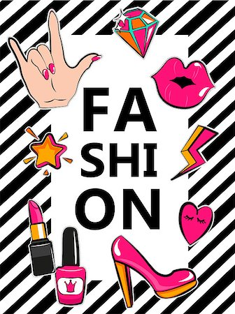 Template for fashion with stylish patch badges with lips, hearts, speech bubbles. Set of fashion stickers, icons, patches in 80s-90s comic cartoon style. Geometric background. Vector illustration. Stock Photo - Budget Royalty-Free & Subscription, Code: 400-08760076