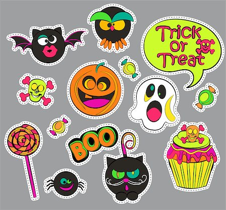 Halloween patch badges with ghost and pumpkin, candy and cat, owl and cupcake, skull and bat, speech bubbles. Set of fashion stickers, icons, pins, patches in comic cartoon style. Vector illustration. Stock Photo - Budget Royalty-Free & Subscription, Code: 400-08760073
