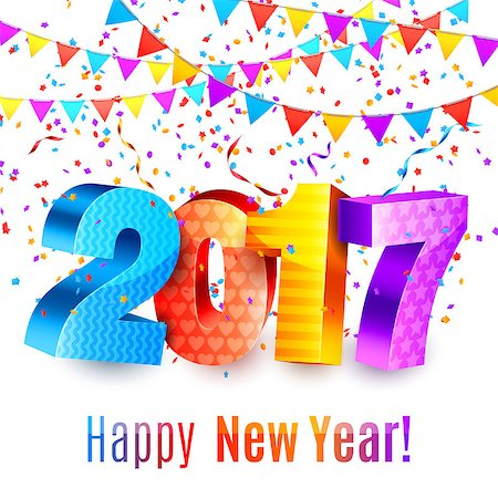 party celebration paper confetti - 2017 new year background with numbers, color confetti and garlands Stock Photo - Budget Royalty-Free & Subscription, Code: 400-08760096