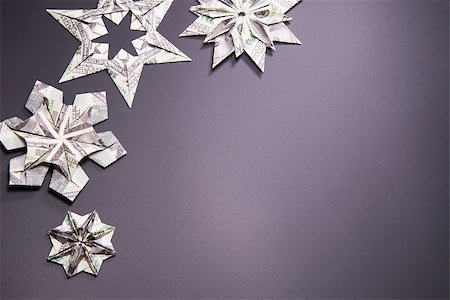 simsearch:400-05936191,k - snowflake origami made of banknotes dollar Handmade Stock Photo - Budget Royalty-Free & Subscription, Code: 400-08774338
