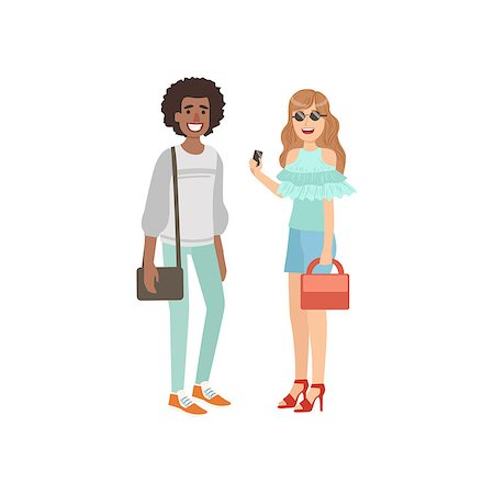 Two Friends Summer Street Fashion Look Simple Childish Flat Colorful Illustration On White Background Stock Photo - Budget Royalty-Free & Subscription, Code: 400-08775885