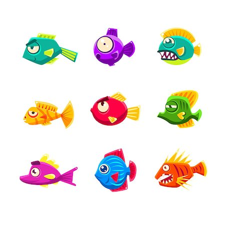 piranha fish - Colorful Tropical Fish Set Of Bright Color Vector Icons Isolated On White Background Design. Stock Photo - Budget Royalty-Free & Subscription, Code: 400-08776995