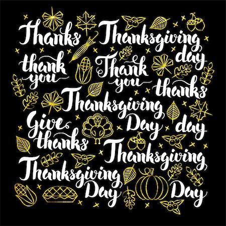 Thanksgiving Day Calligraphy Design. Vector Illustration of Thank You Lettering. Stock Photo - Budget Royalty-Free & Subscription, Code: 400-08777072