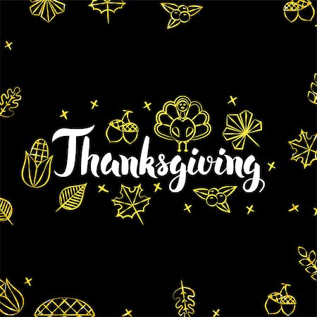 Thanksgiving Gold Black Postcard. Vector Illustration of Seasonal Holiday Calligraphy with Golden Decoration. Stock Photo - Budget Royalty-Free & Subscription, Code: 400-08777127