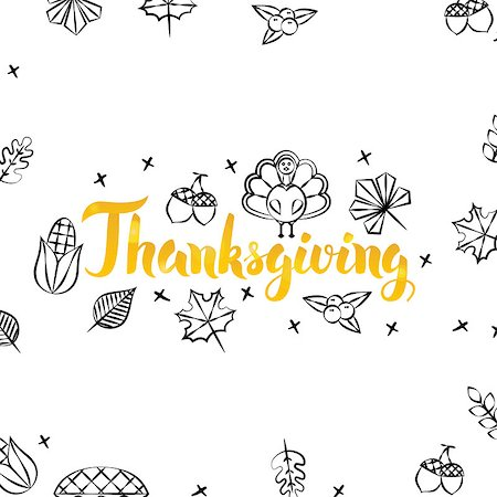 Thanksgiving Gold Greeting Postcard. Vector Illustration of Seasonal Holiday Lettering with Golden Doodles. Stock Photo - Budget Royalty-Free & Subscription, Code: 400-08777129