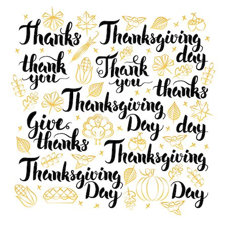 Thanksgiving Day Lettering Design Set. Vector Illustration of Thank You Calligraphy over White. Stock Photo - Budget Royalty-Free & Subscription, Code: 400-08777136