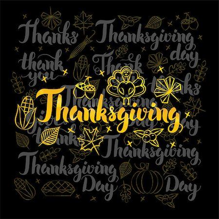 Thanksgiving Gold Lettering over Black Design. Vector Illustration of Thank You Calligraphy with Decoration. Stock Photo - Budget Royalty-Free & Subscription, Code: 400-08777137