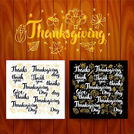 Thanksgiving Lettering Postcards. Vector Illustration of Thank You Modern Calligraphy over Wooden Board. Stock Photo - Budget Royalty-Free & Subscription, Code: 400-08777138