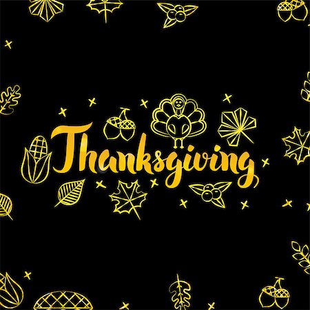 Thanksgiving Gold and Black Design. Vector Illustration of Thank You Calligraphy with Golden Decoration. Stock Photo - Budget Royalty-Free & Subscription, Code: 400-08777130