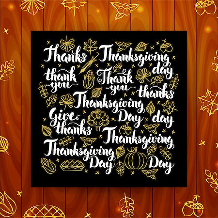 Thanksgiving Greeting Calligraphy. Vector Illustration of Thank You Modern Lettering over Wooden Board. Stock Photo - Budget Royalty-Free & Subscription, Code: 400-08777131