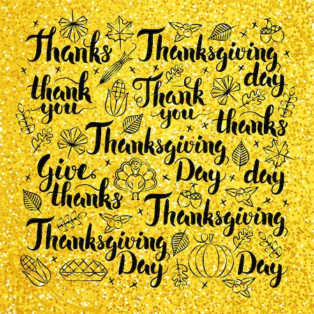 Thanksgiving Day Gold Lettering Design. Vector Illustration of Hand Drawn Thank You Calligraphy. Stock Photo - Budget Royalty-Free & Subscription, Code: 400-08777133