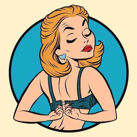 Pin-up girl wears a bra, pop art comic illustration Stock Photo - Budget Royalty-Free & Subscription, Code: 400-08777232