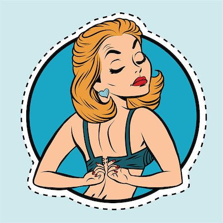 Pin-up girl wears a bra, pop art comic illustration. Label sticker cutting contour Stock Photo - Budget Royalty-Free & Subscription, Code: 400-08777233