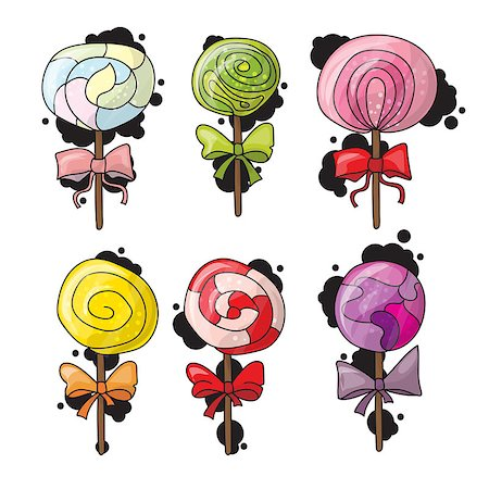 simsearch:400-04344039,k - Set of colorful lollipops in hand drawn style. Collection of spiral candies sketch Stock Photo - Budget Royalty-Free & Subscription, Code: 400-08778908