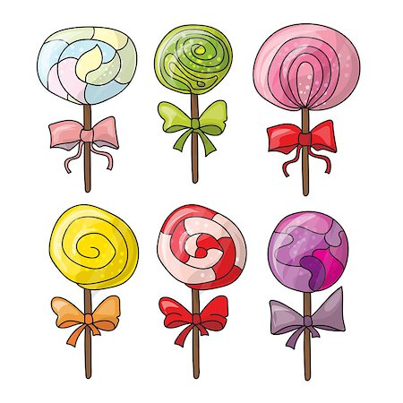simsearch:400-04344039,k - Set of colorful lollipops in hand drawn style. Collection of spiral candies sketch Stock Photo - Budget Royalty-Free & Subscription, Code: 400-08778909