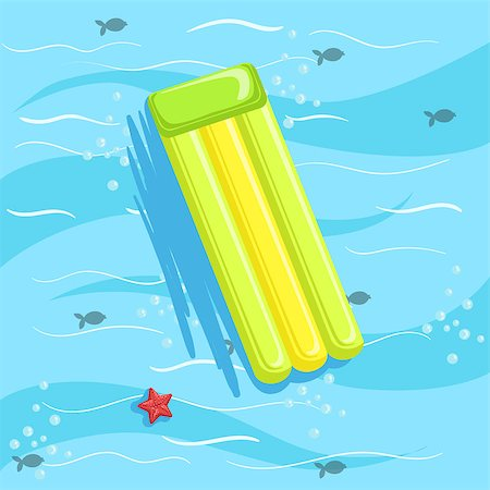 simsearch:400-04638538,k - Green Inflatable Matrass With Blue Sea Water On Background. Beach Vacation Related Illustration Drawn From Above In Simple Vector Cartoon Style. Stock Photo - Budget Royalty-Free & Subscription, Code: 400-08779806