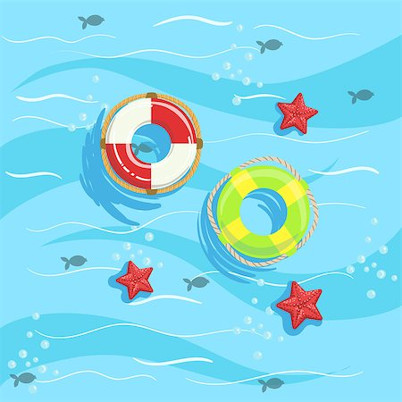 simsearch:400-04638538,k - Two Ring Buoys With Blue Sea Water On Background. Beach Vacation Related Illustration Drawn From Above In Simple Vector Cartoon Style. Stock Photo - Budget Royalty-Free & Subscription, Code: 400-08779808