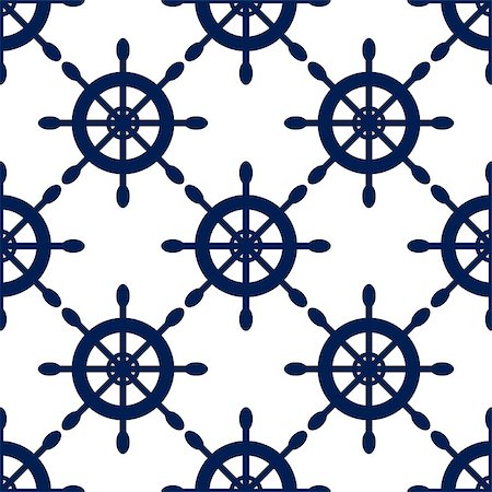 seamless - Seamless vector pattern with nautical blue helms. Sea theme ship wheel repeat background. Stock Photo - Budget Royalty-Free & Subscription, Code: 400-08770544