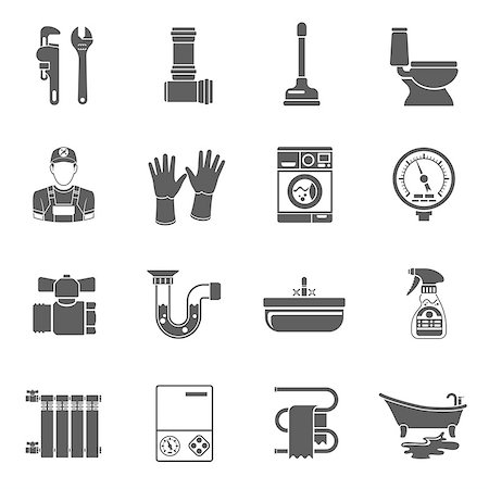 Plumbing Service Black Icons Set with Plumber, Device and Tools items. Isolated vector illustration. Stock Photo - Budget Royalty-Free & Subscription, Code: 400-08784541