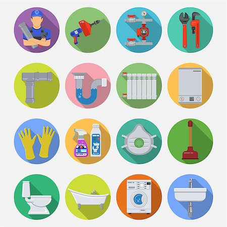 Plumbing Service Flat Icons Set with Long Shadow on Circle with Plumber, Device and Tools items. Vector illustration. Stock Photo - Budget Royalty-Free & Subscription, Code: 400-08784542