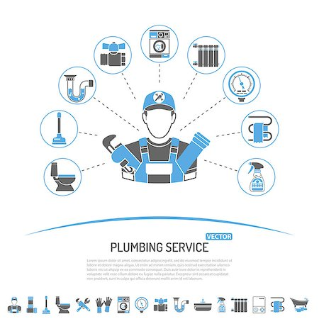 Plumbing Service Infographics like Installation, Repair and Cleaning with Plumber, Tools and Device Two Color Icons. Isolated vector illustration. Stock Photo - Budget Royalty-Free & Subscription, Code: 400-08784555