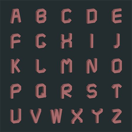 Letters of the Latin alphabet with 3D effect  in retro style, vector illustration. Stock Photo - Budget Royalty-Free & Subscription, Code: 400-08785449