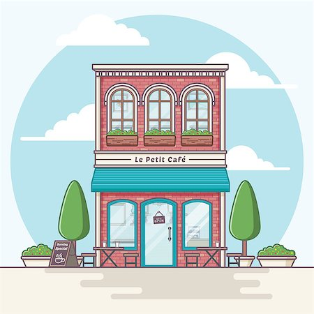 Coffeeshop building illustration Stock Photo - Budget Royalty-Free & Subscription, Code: 400-08786053